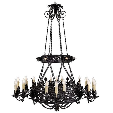French mid 19th century patinated wrought iron 24 light chandelier
