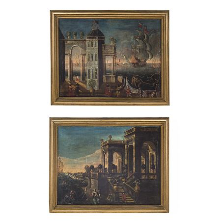 A pair of Italian 18th century Oil on Canvas within molded edge giltwood frame.
