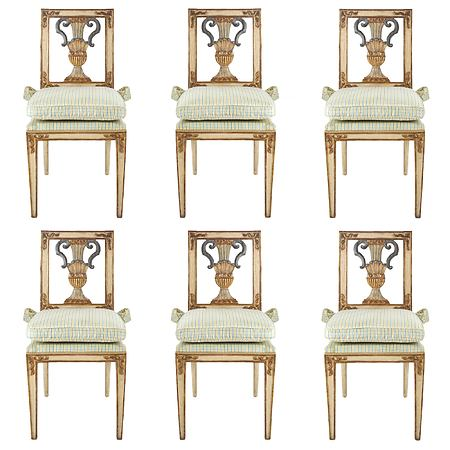 A complete set of six Italian early 19th century Louis XVI st. dining chairs
