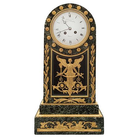 A French 19th century Neo-Classical st. Vert Patricia marble and ormolu clock, signed Jollet & Cie
