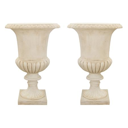 A pair of Italian 19th century large scale white Carrara marble urns