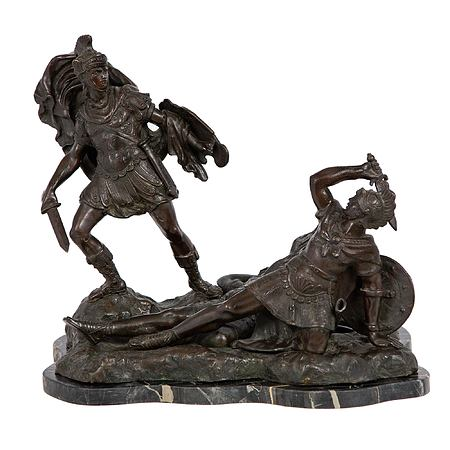 An Italian 19th-century Neo-Classical patinated bronze and Portoro marble statue of soldiers fighting