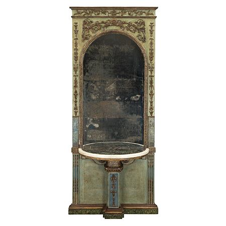Italian 18th century Louis XIV period mecca mirror and marble console from a Genovese Carpenteria.