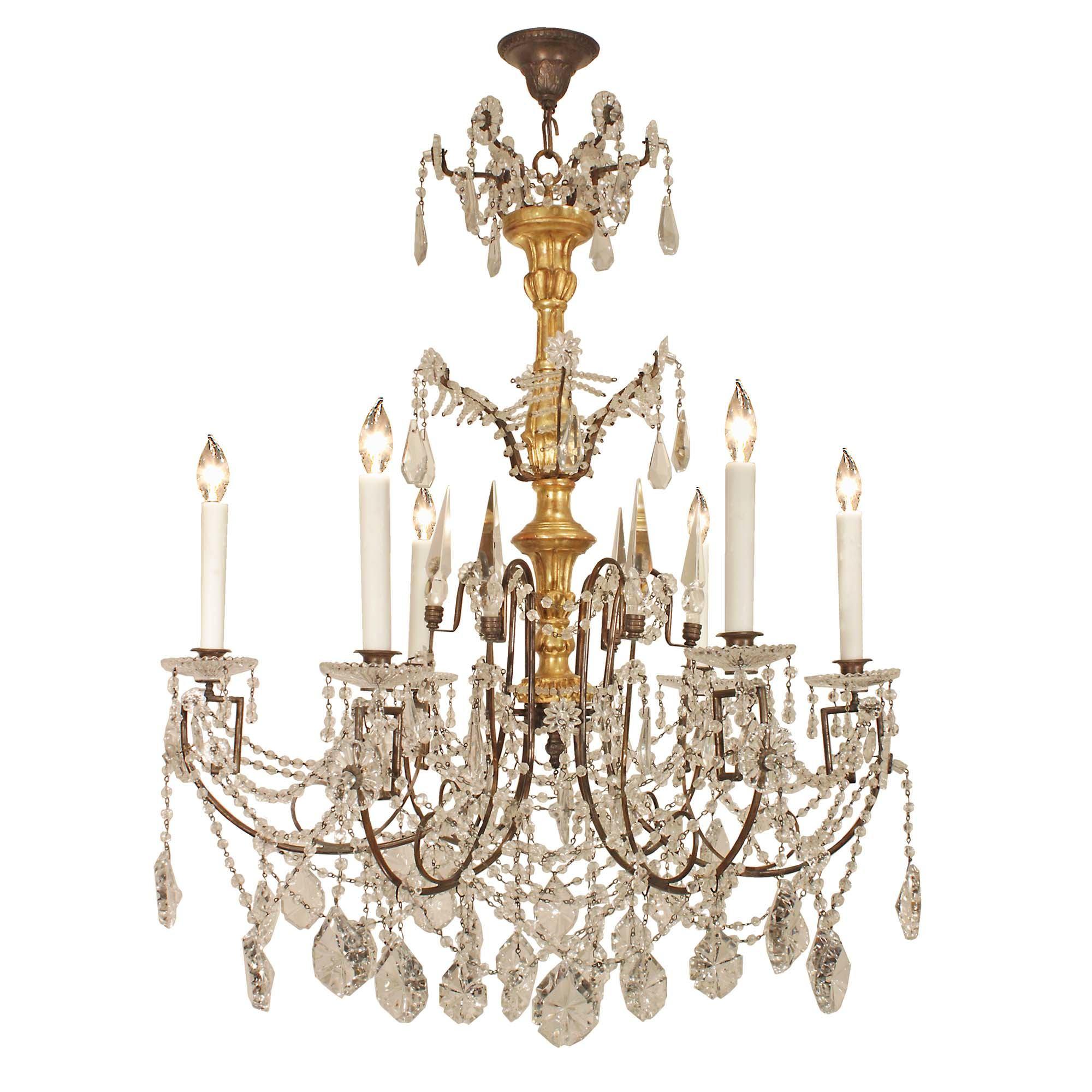 Italian 19th century gilt wood and crystal chandelier