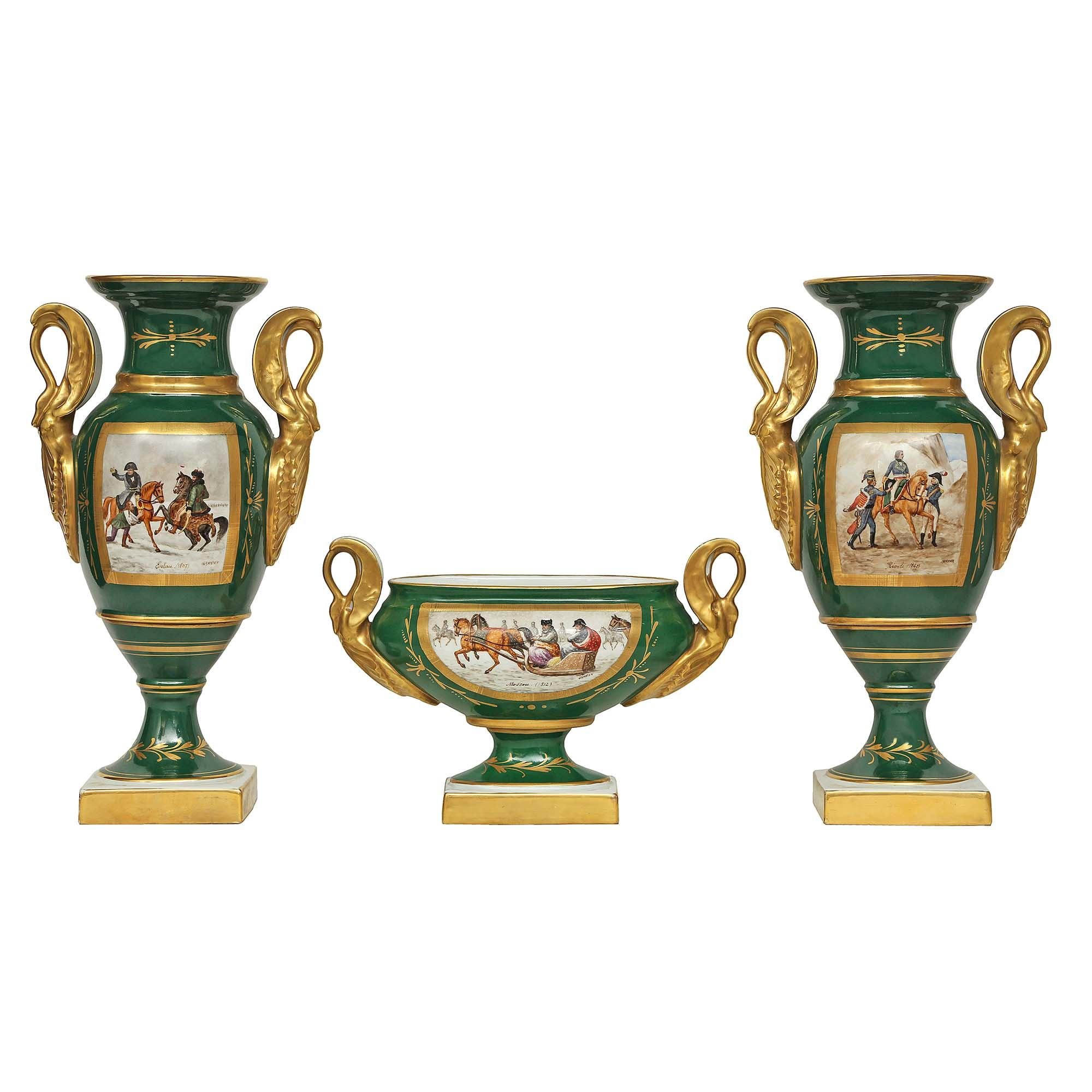 A French 19th century Empire st  three piece porcelain from Limoges, France
