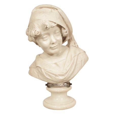 An Italian 19th century white Carrara marble bust signed, G. Branca J Milano 1881