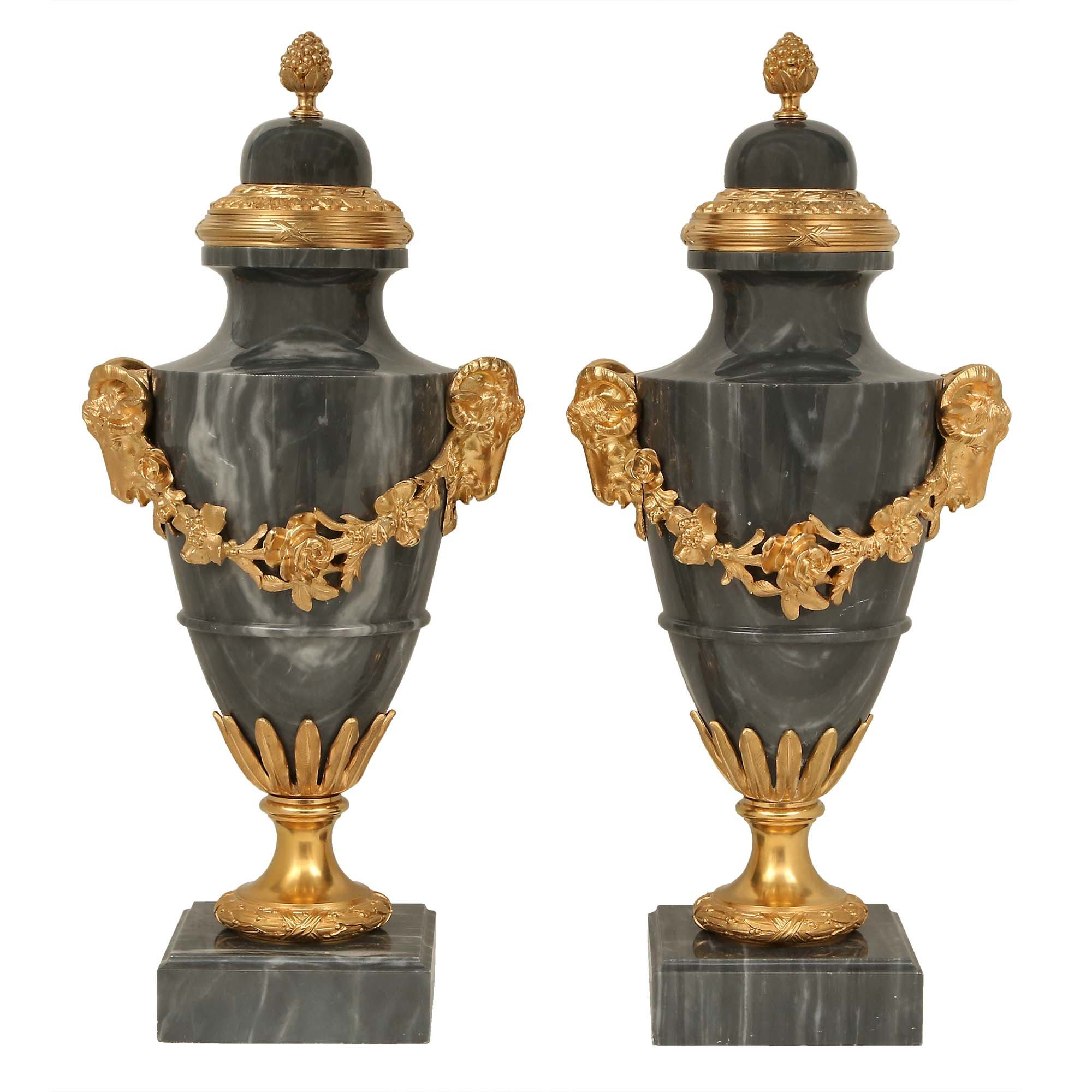 A pair of French 19th century Louis XVI st  Blue Turquin marble and ormolu  urns