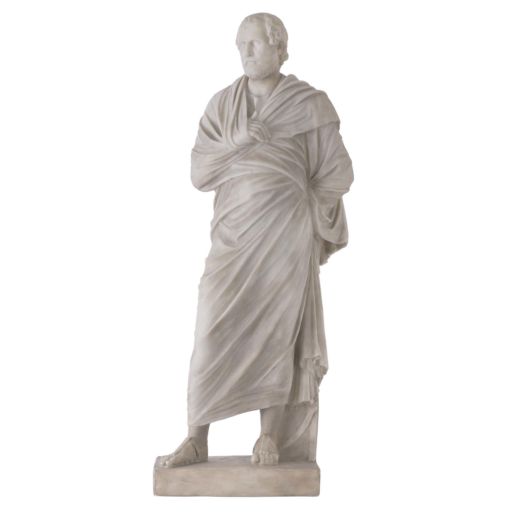 Italian 19th Century White Carrara Marble Statue Of Aeschines Of The Ten Attic Orators Cedric