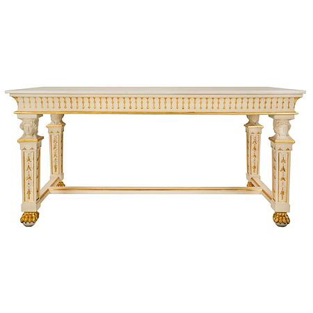 An Italian 19th century Neo-Classical st. patinated, giltwood and marble center table