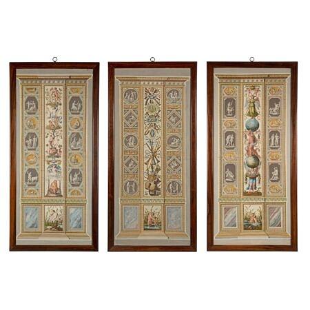 A set of three Italian 18th century Fresco Pilasters prints
