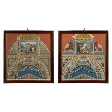 Italian 18th century Fresco Pilasters prints
