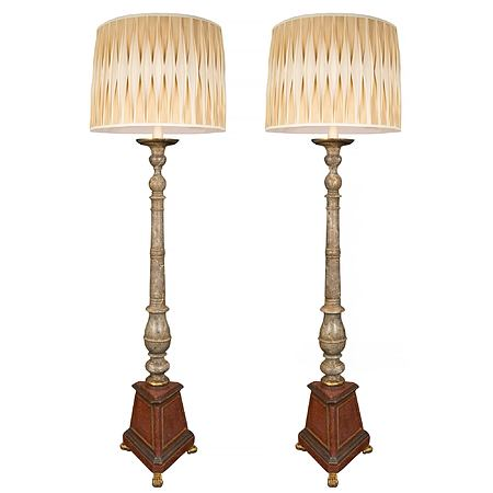 A pair of Italian 19th century faux painted marble floor lamps