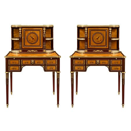 A pair of French early 19th century Louis XVI st. mahogany Bonheurs du Jours