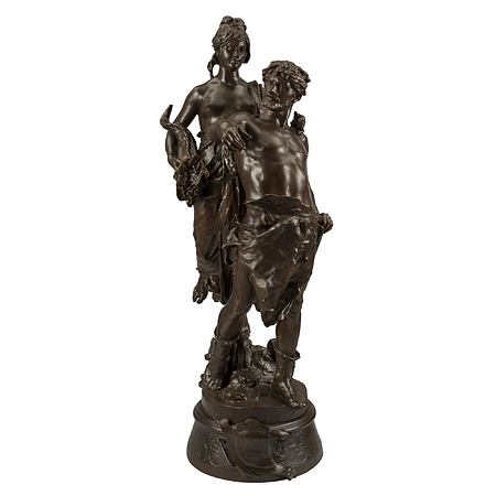 """A French 19th century patinated bronze statue named """"Le Travail guide La Fortune"""", signed Marioton"""