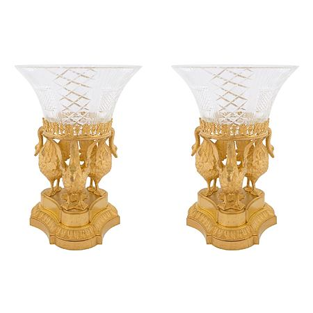 A pair of French 19th century Louis XVI st. Baccarat crystal and ormolu centerpiece presentoires