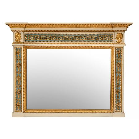 An Italian 19th century Neo-Classical st. patinated off white, teal and giltwood trumeau