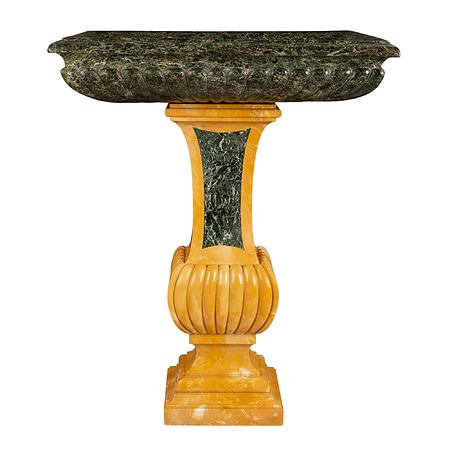 An Italian 19th century Neo-Classical st. Sienna and Vert Antique marble birdbath/planter