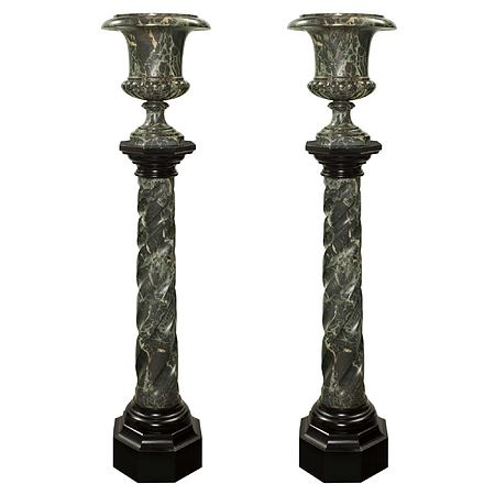 A pair of Italian 19th century Louis XVI st. scagliola pedestals and urns