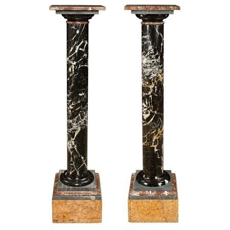 A pair of Italian 19th century marble pedestal columns