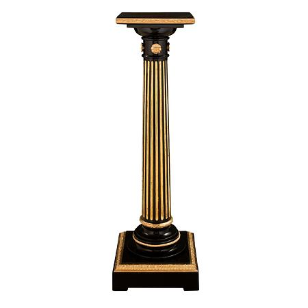 A French mid 19th century Louis XVI st. ebony, giltwood and ormolu mounted pedestal
