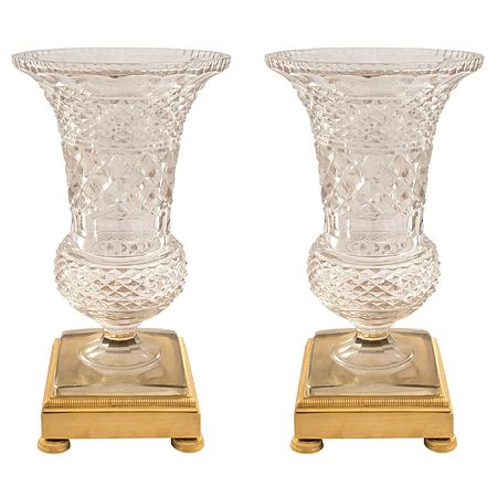 A pair of French 19th century Louis XVI st. Baccarat and ormolu vases