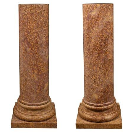 Italian 19th century Neo-Classical st. Brocatelle d'Espagne marble pedestal columns