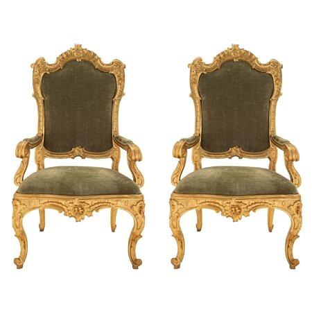 A pair of Roman 18th century Louis XV period giltwood throne armchairs