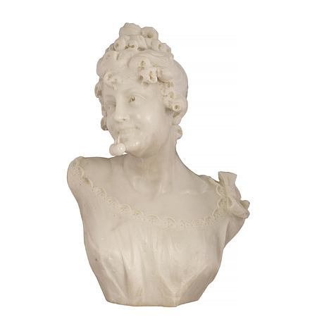 An Italian 19th century white Carrara marble bust of a young maiden, signed R. Batelli