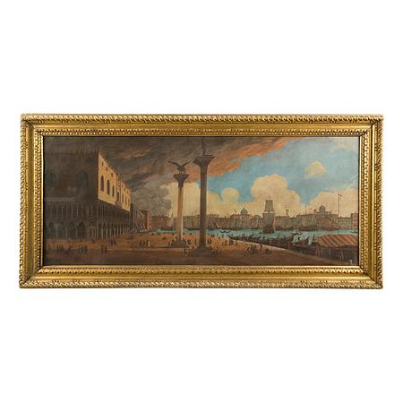 An Italian early 19th century oil on canvas painting of Piazza San Marco in Venice