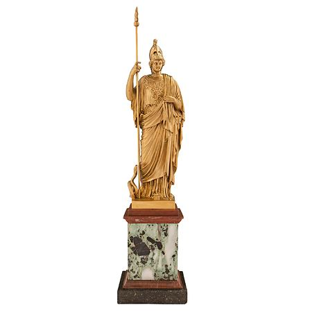 Continental 19th century Neo-Classical st. ormolu and marble statue of Athena