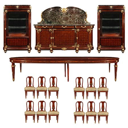 French 19th century Louis XVI st. mahogany and ormolu complete dining suite