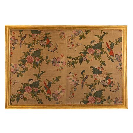 An 18th century wall panel of hand painted Asian silk