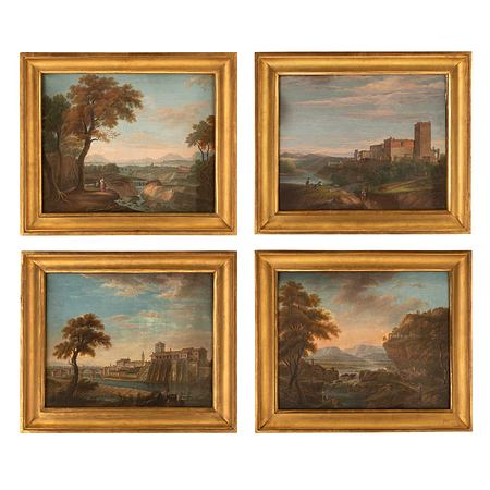 A set of four Italian early 19th century gouaches of the Italian countryside