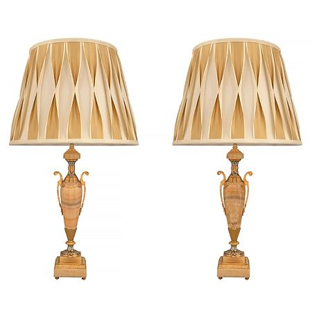 A pair of French 19th century Neo-Classical onyx, ormolu and Cloisonné lamps
