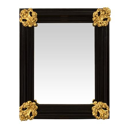 An Italian 18th century Baroque period Florentine rectangular mirror in ebony and giltwood