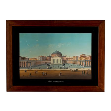 An Italian 19th century signed gouache, framed within a rectangular mahogany frame