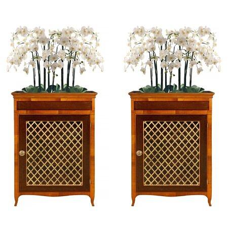 Italian early 19th century Louis XV st. walnut and mahogany cabinet vitrine/ planter