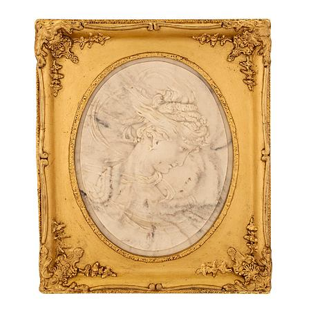 Italian 19th century white Carrara marble oval relief in a giltwood frame