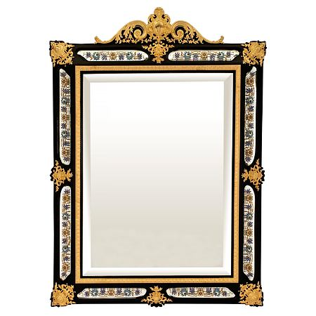 French mid 19th century Napoleon III period ebony and ormolu mirror