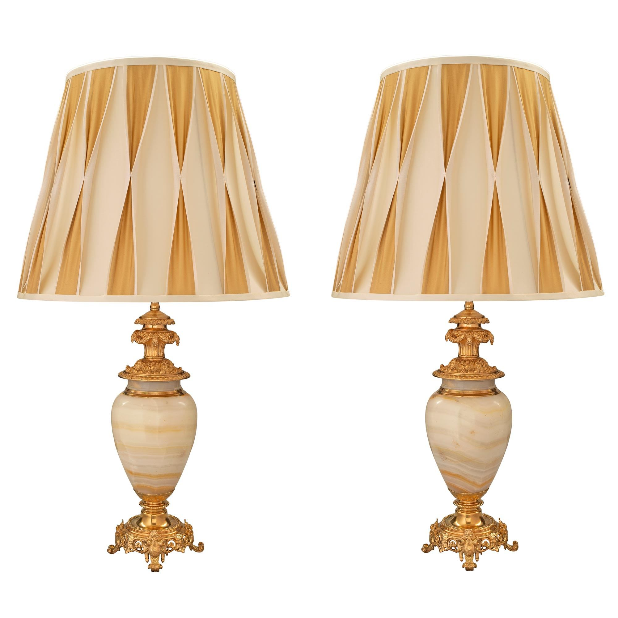 A Pair Of French 19th Century Renaissance St Onyx And Ormolu Lamps Cedric Dupont Antiques