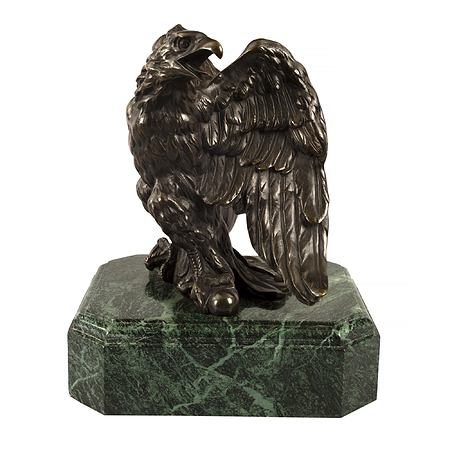 A high quality French mid 19th century Empire st. patinated bronze and marble eagle statue