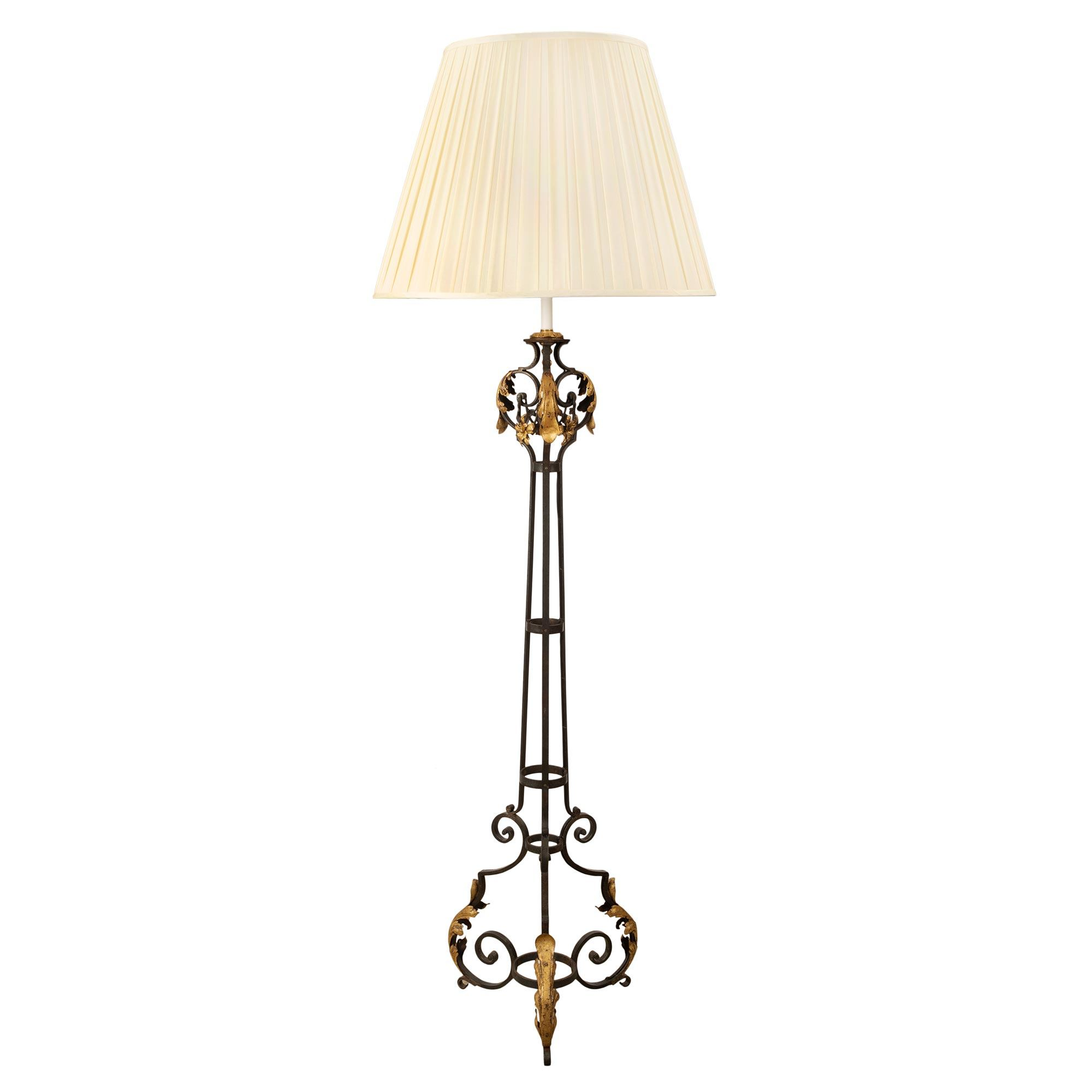 A French 19th Century Wrought Iron And Gilt Metal Floor Lamp Cedric Dupont Antiques