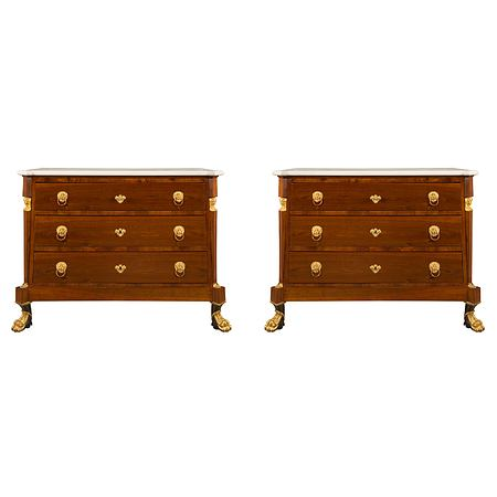 Italian 19th century Neo-Classical st. mahogany, giltwood, ormolu and marble chests