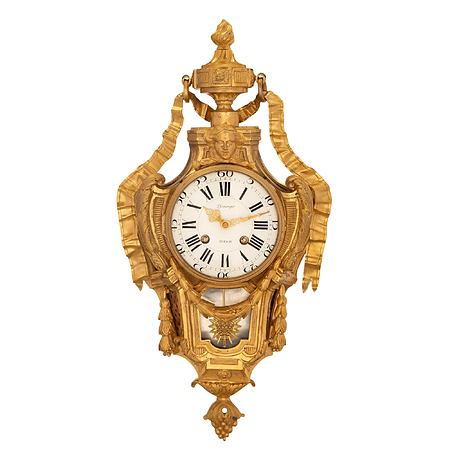 A French 18th century Louis XVI period ormolu and silvered bronze clock, signed Pfeñinger, Zurich