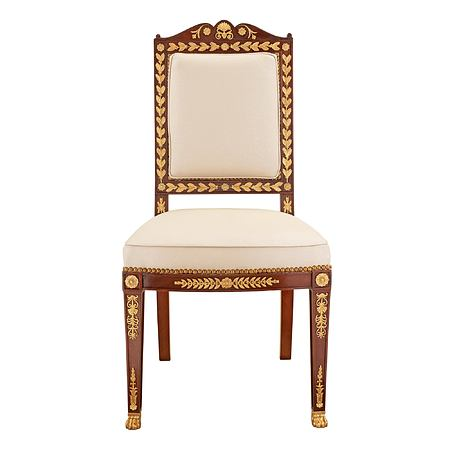 A French 19th century Empire st. ormolu and solid mahogany side chair