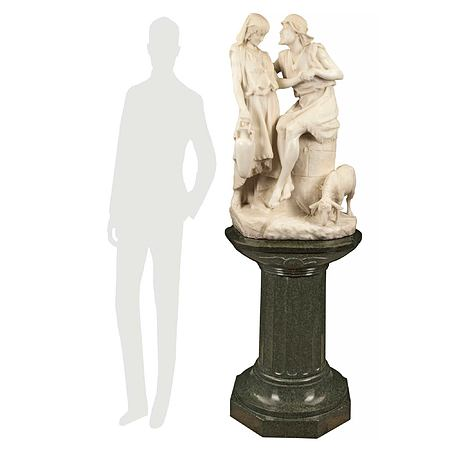 Italian 19th century statue of 'Jacob and Rachel at the Well' by Romanelli, Firenze