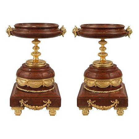A pair of French Louis XVI st. mid 19th century Rosso Antico marble and ormolu tazzas
