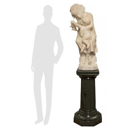 An Italian 19th century Carrara marble statue on its original Vert de Patricia marble pedestal