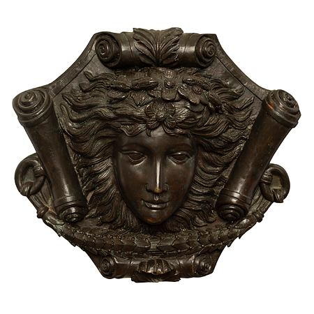 A French 19th Louis XVI st. patinated bronze decorative wall plaque