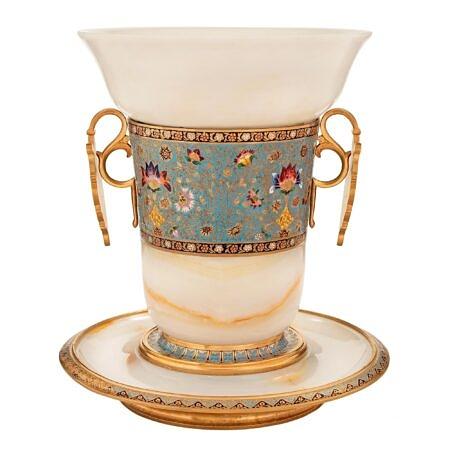A French 19th century Louis XVI st. Belle Époque Period Cloisonné, onyx and alabaster vase